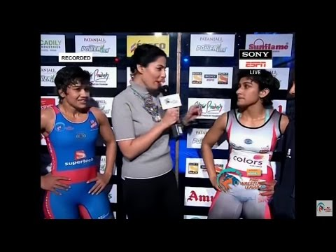 Phogat Sisters With Owner Of UP Dangal At Pro Wrestling League Season 2
