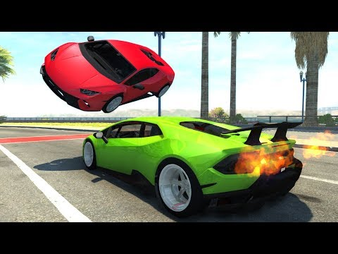 Lamborghini Huracan Drift Car Crash Testing - BeamNG Drive