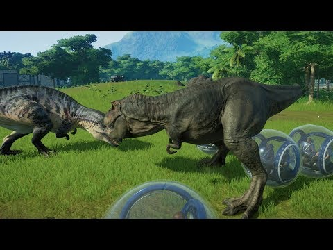 2-t-rex-vs-6-acrocanthosaurus-awesome-fight---jurassic-world-evolution