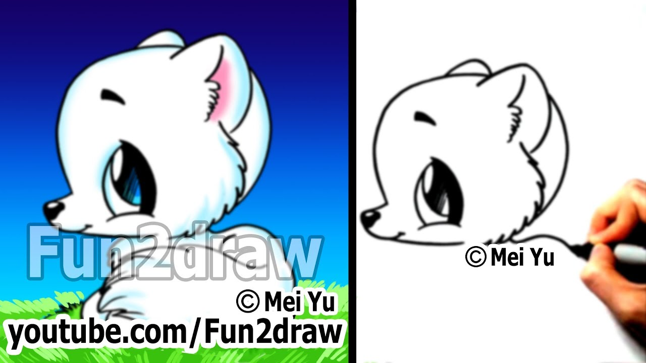 easy things to draw cute animals drawing tutorial arctic fox easy youtube