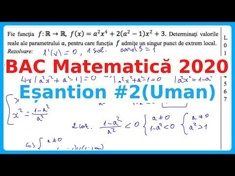 BAC MATEMATICA ESANTION Nr. 2 Umanist 2020 Rezolvare Completa Examen.md