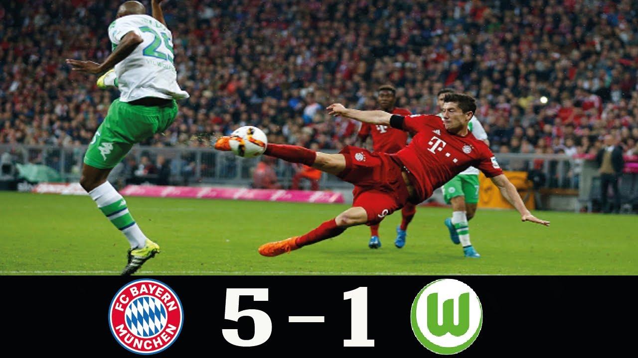 Download Bayern Munich 5 - 1 Wolfsburg Bundesliga 2015●R. Lewandowski's 5 Goals in 9 minutes!!●Classic Match