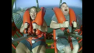 HE DID IT!!!  Sling Shot ride at the Atlantic City Steel Pier!!!