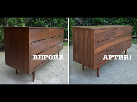 Mid Century Modern Dresser Makeover Strip And Refinish Thrift Diving