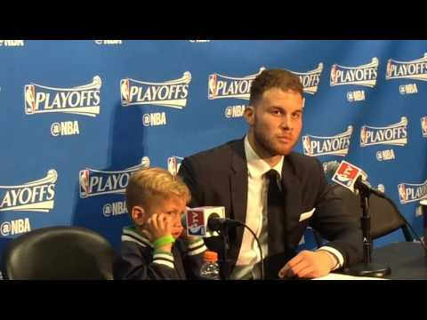 Father-son time: Blake Griffin and son Ford discuss victory vs Portland