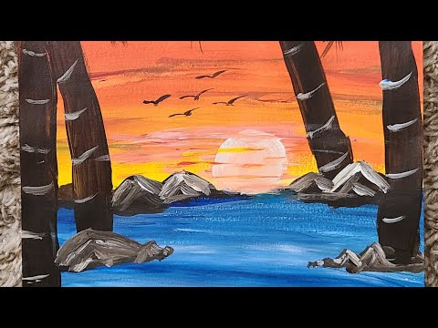 Easy and Beautiful Landscape Acrylic Painting for Kids and Beginners
