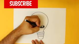 HOW TO DRAW A LIGHT BULB CUTE, Easy step by step drawing lessons for kids