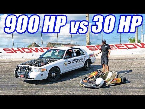 900hp Crown Vic vs. Shifter Kart! Figure 8 Face Off!