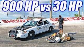 900hp Crown Vic vs. Shifter Kart! Figure 8 Face Off!