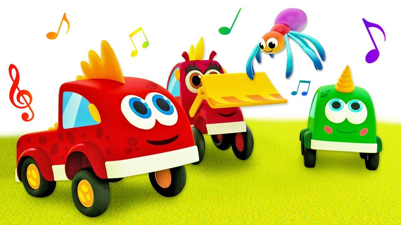 Машинки Мокас и Детские песенки - Мультфильмы для детей - Весёлые песенки с машинками Мокас