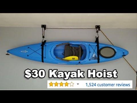 30 Kayak Hoist Garage Storage Solution Youtube