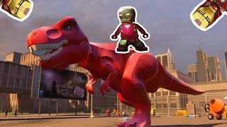 Red dinosaur run away from the spaceship and Iron man Chasing it