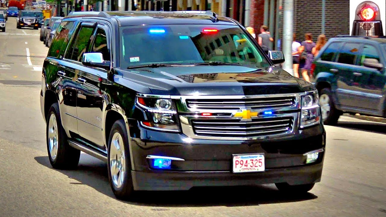 Boston Police Unmarked Chevy Tahoe Ltz Ppv Forward Facing Red Lights