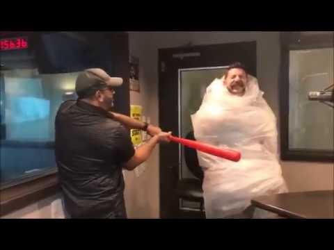 Hitting Bubble Wrapped Statt with a Wiffle Ball Bat