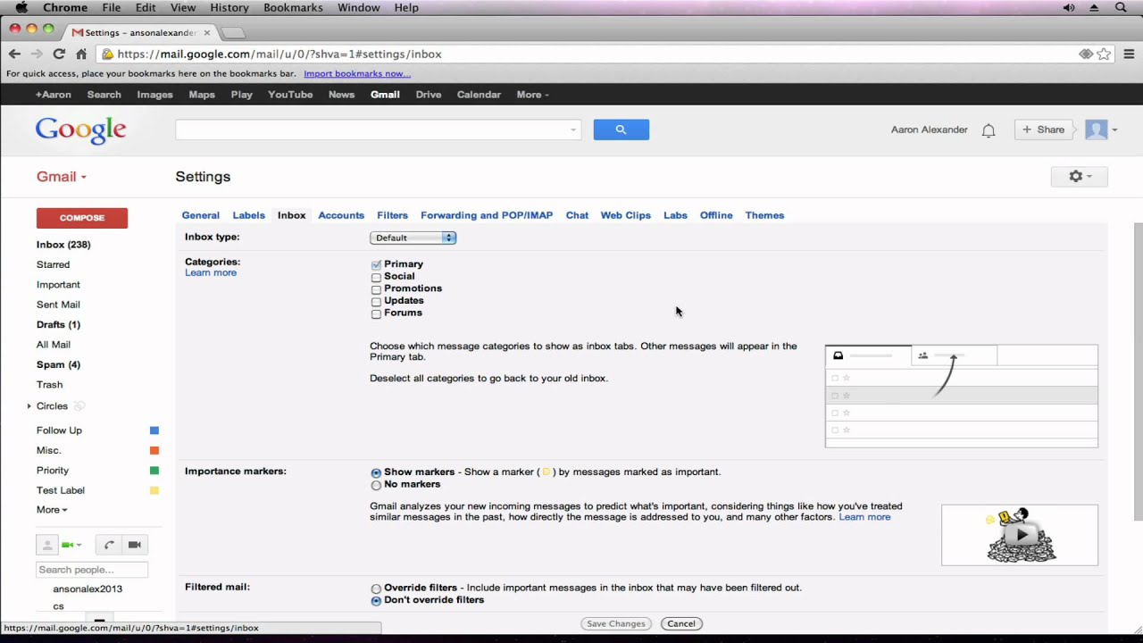 Gmail Tutorial 2013 Revert To Old Gmail Inbox Look Part 8 Youtube
