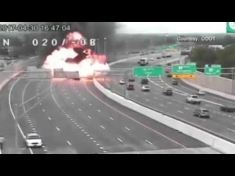 Moment car accident causes gas tanker to explode in Ohio