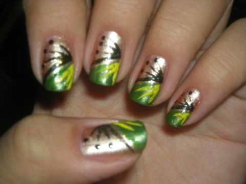 nail design tutorial green bronze