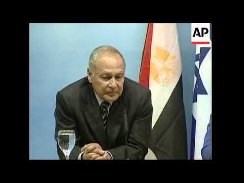 Israeli FM photo op with Egyptian FM, presser