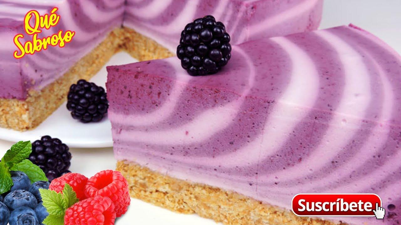 Cheesecake Cebra de Yogurt y Frutos Rojos | Qué Sabroso