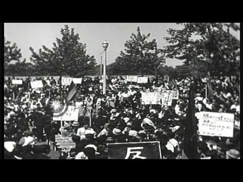 Protests at British Embassy in Tokyo, Japan, following Britain's second H Bomb te...HD Stock Footage
