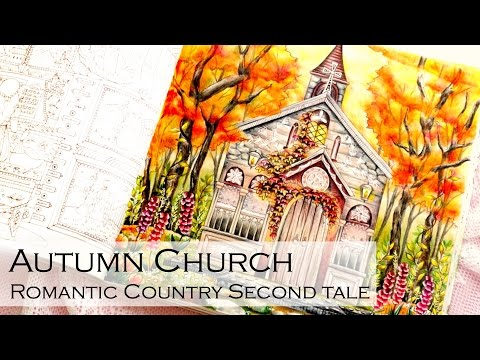 Autumn Church | Adult Coloring Book: Romantic Country 2 The