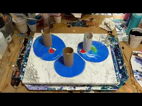 (51) Toilet paper roll Acrylic pour painting Fluid art