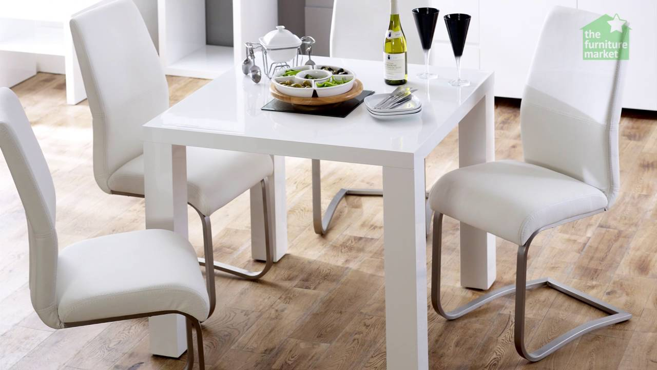 White High Gloss Square 4 Seater Dining Table Youtube