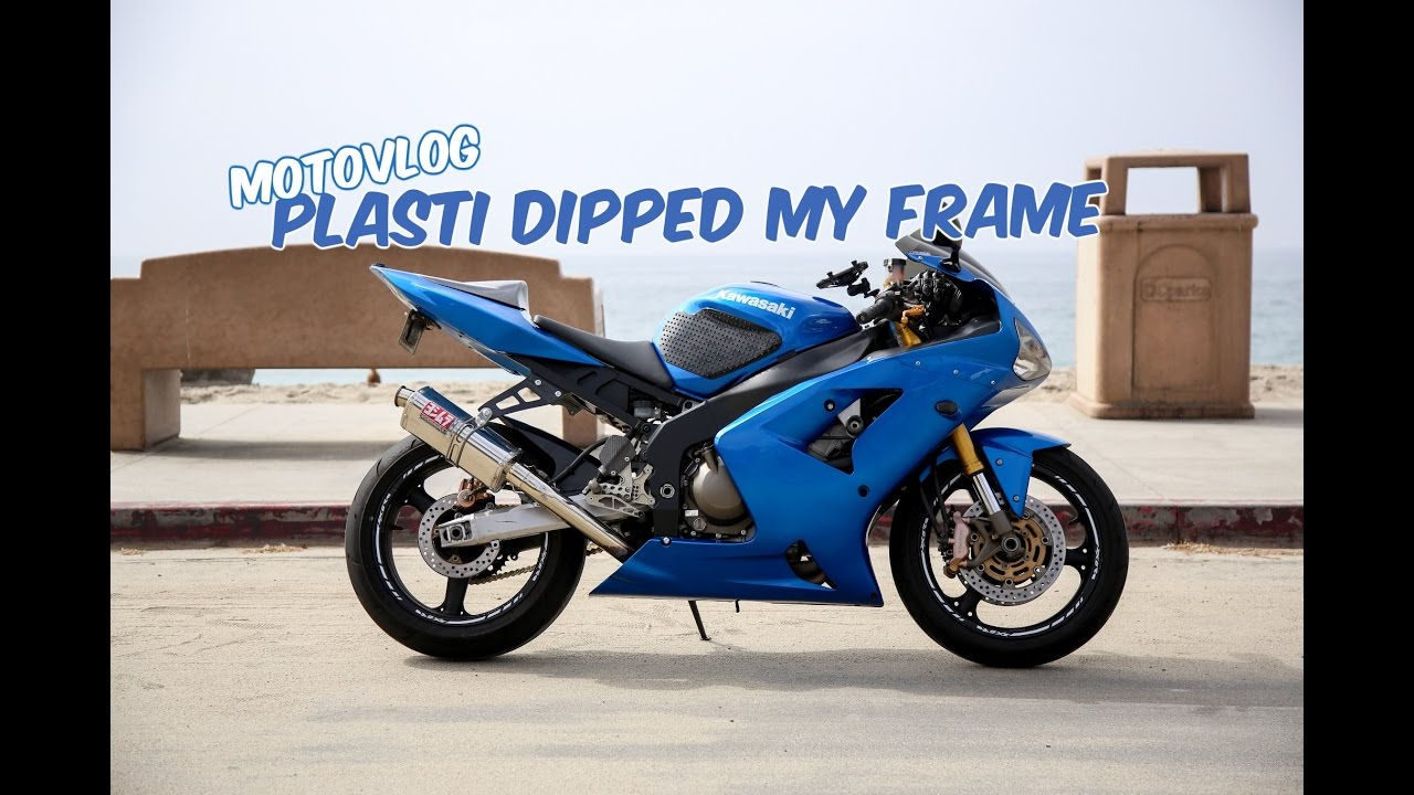 motovlog 7 tutorial ish plasti dipped my motorcycle frame zx6r - Motorcycle Picture Frame