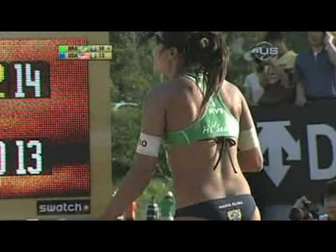 American women slip on beach court from