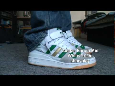 08ef948f469 Adidas Forum Mid White Green shoe play - YouTube