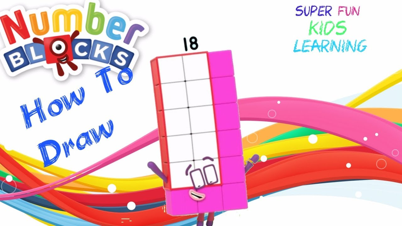 How To Draw Numberblocks 18 Numberblocks Drawings Numberblocks Coloring Pages Youtube