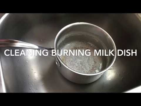 How to clean burning(charred )  Milk dish(vessel) with simple