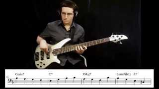 "Walking Jazz Standards #4: ""Beautiful Love"" - Bass Guitar Lesson"