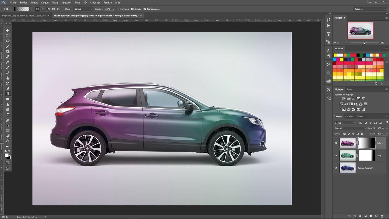 tutoriel photoshop la couleur d 39 une voiture et mettre un d grad youtube. Black Bedroom Furniture Sets. Home Design Ideas