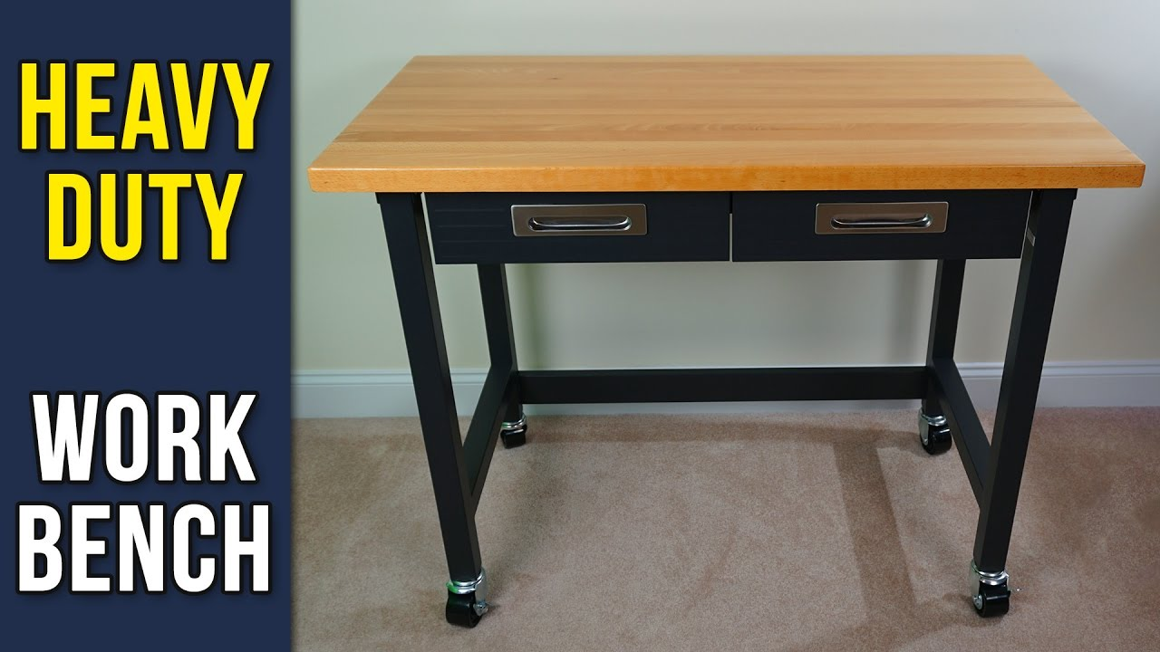 seville classics - ultragraphite wood top workbench on wheels
