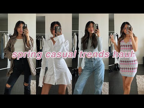 SPRING TRENDS CLOTHING HAUL | casual looks! skirts, shackets, jeans, & more!