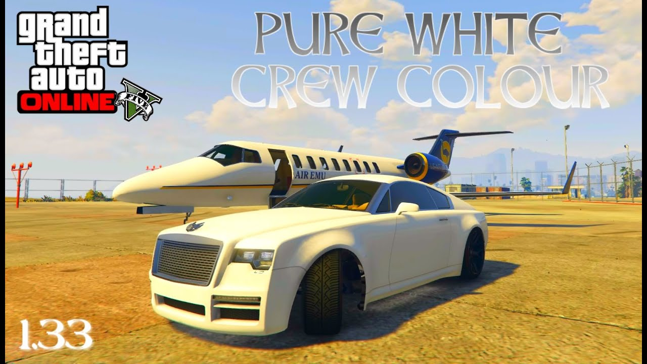 GTA 5 Online \'HOW TO GET A PURE WHITE CREW COLOUR\' (1.33) - YouTube