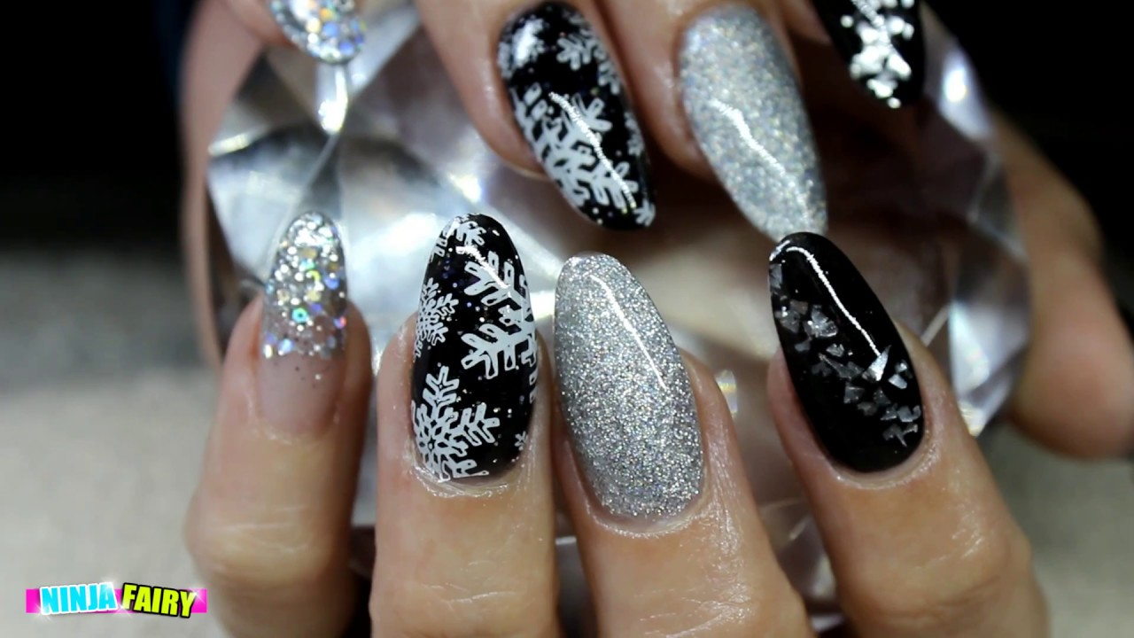 ACRYLIC NAILS FOR NEW YEARS EVE | GLAM NAIL ART | SILVER AND BLACK ...