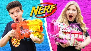 NERF BLASTER CHALLENGE Boy vs Girl (Learn How to Make Custom NERF Blasters DIY Battle)