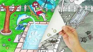 ASMR cleaning dirty swimming pool 🧽🧹🧴-STOP MOTION PAPER