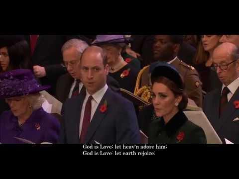 Blaenwern - God is Love Hymn - Westminster Abbey Armistice Centenary (with Lyrics)