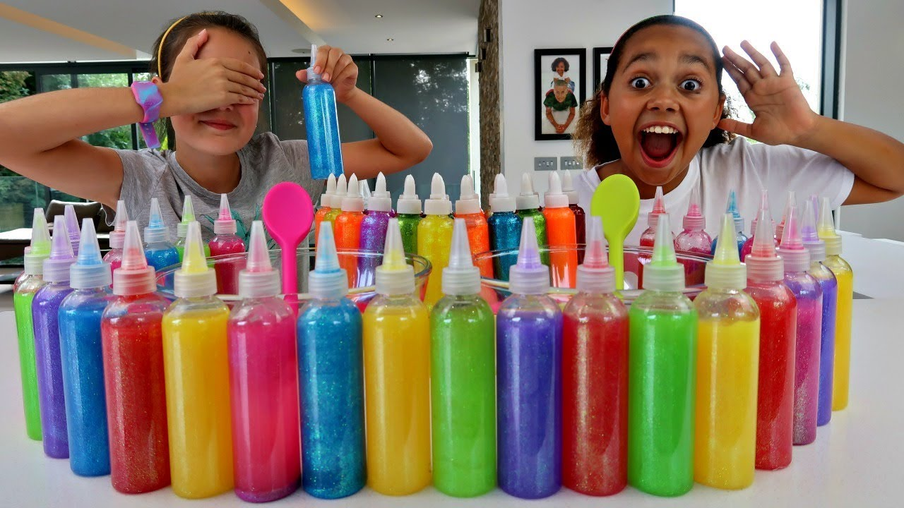 3 Colors Of Glue Slime Challenge W Summer Youtube