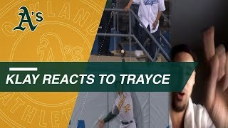 Klay Thompson reacts to brother Trayce's HR robbery