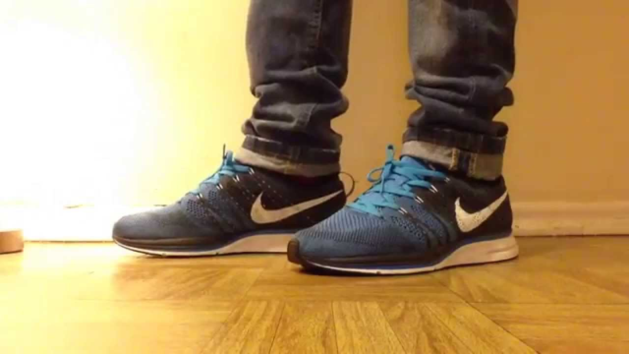 nike flyknit trainer squadron blue on feet youtube