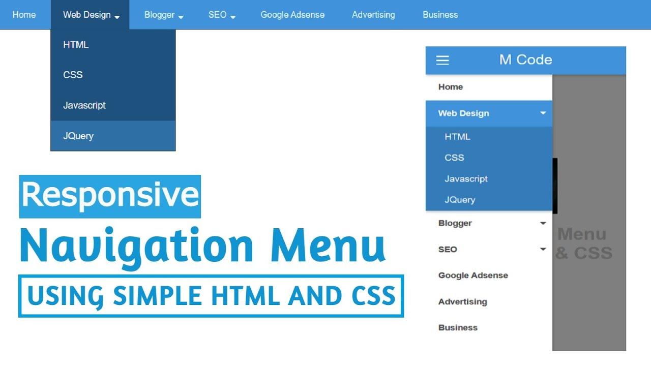 Responsive Navbar in HTML CSS