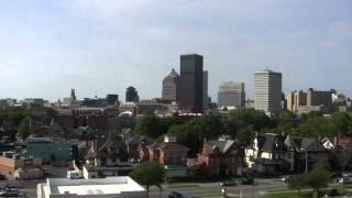 A view of downtown Rochester, NY from the top of the former Genesee Hospital garage.
