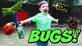 Caleb & Mommy Play Outside & Find REAL BUGS! Pretend Play with Insects!