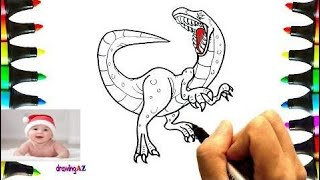 Drawing Velociraptor For Learning Colors and Coloring Pages Dinosaur for Kids 2   #part 29