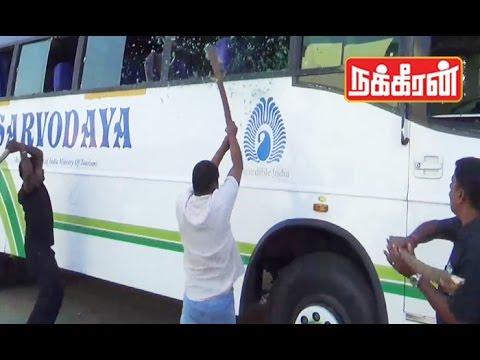 Tamil activists attack Karnataka buses | Cauvery water dispute