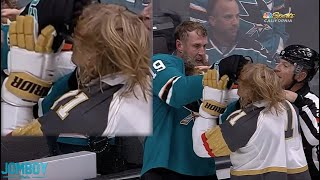 Joe Thornton holds William Karlsson hostage, a breakdown